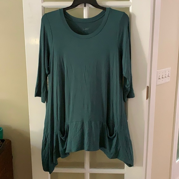 LOGO Deep green crew neck top tunic blouse Sz 1X